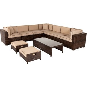 Rattan Direct Rattan Garden Corner Sofa Set In Brown - Geneva Set Gen 006, Brown