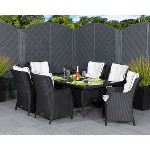 Rattan Direct Rectangular Rattan Garden Dining Table & 6 Chairs In Black & White - Riviera Set Riv 013, Black