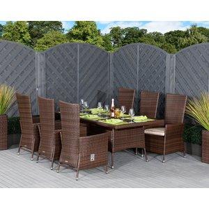 Rattan Direct Rectangular Rattan Garden Dining Table & 6 Reclining Chairs Set In Brown - Cambridge Set Cam 049, Brown
