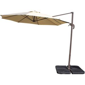 Rattan Direct Rotating Cantilever Parasol & Plastic Base In Brown Set Roc 001, Brown