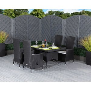 Rattan Direct Small Rectangular Rattan Garden Dining Table & 4 Reclining Chairs In Black & White Set Cam 063, Black