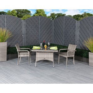 Rattan Direct Square Rattan Garden Dining Table & 1 Stackable Chairs In Grey - Roma Set Rom 031, Grey