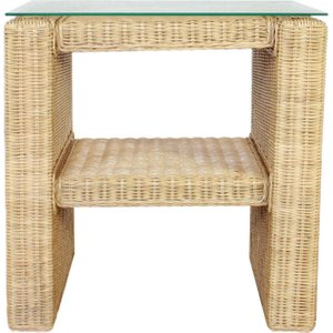 Rattan Direct Wicker Rattan Side Table With Shelf  Set Sts 002