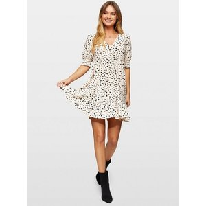 Miss Selfridge Womens Cream Animal Print Short Sleeve Smock Dress, Cream Ms18j14bnde Womens Dresses & Skirts, CREAM