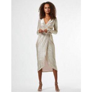 Miss Selfridge Womens Beige Metallic Twist Detail Midi Wrap Dress, Beige Ms18c33agld Womens Dresses & Skirts, BEIGE