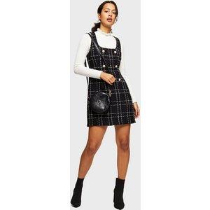 Miss Selfridge Womens Black Boucle Pinafore Dress, Black Ms18f04ablk Womens Dresses & Skirts, BLACK