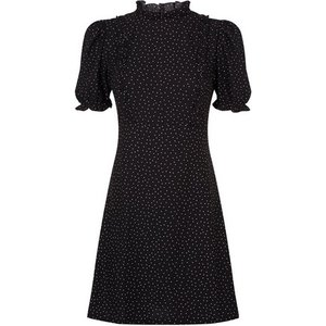 Miss Selfridge Womens Black High Neck Frill Dress, Black Ms18j24bblk Womens Dresses & Skirts, BLACK
