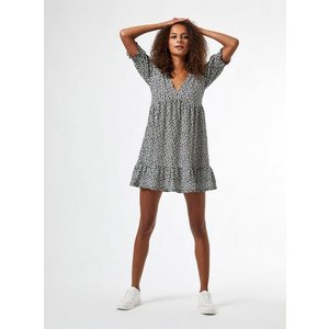 Miss Selfridge Womens Black Mono Daisy Print Short Sleeve Smock Dress, Black Ms18j14bblk Womens Dresses & Skirts, BLACK
