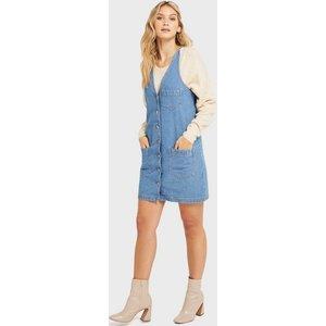 Miss Selfridge Womens Blue Mid Wash Denim Button Through Pocket Pinafore Dress, Blue Ms17d01ymdt Womens Outerwear, BLUE
