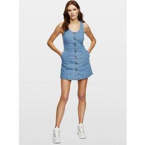 Miss Selfridge Womens Blue Mid Wash Denim Fit And Flare Dress, Blue Ms17d06bmdt Womens Outerwear, BLUE