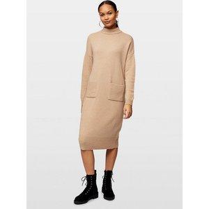 Miss Selfridge Womens Camel Pocket Midi Knitted Dress, Camel Ms13d04btan Womens Dresses & Skirts, CAMEL