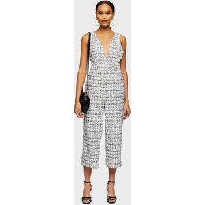 Miss Selfridge Womens Ivory Boucle Pinny Jumpsuit, Ivory Ms18g07acrm Womens Outerwear, IVORY