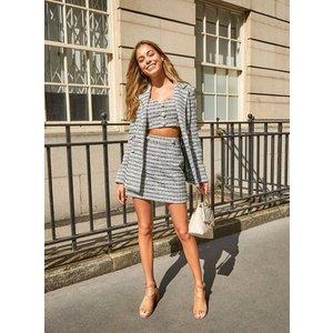 Miss Selfridge Womens Ivory Mono Check Boucle Skirt, Ivory Ms43s42sivr Womens Dresses & Skirts, IVORY