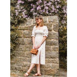 Miss Selfridge Womens Ivory Puff Sleeve Shirred Floral Print Dress, Multi Ms18t16bivr Womens Dresses & Skirts, Multi