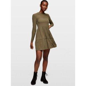 Miss Selfridge Womens Khaki Long Sleeve Ribbed Smock Dress, Khaki Ms18j02bkhk Womens Dresses & Skirts, KHAKI