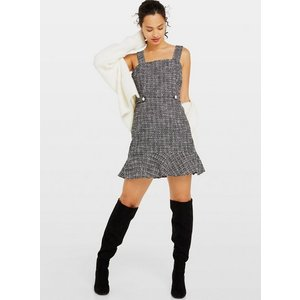 Miss Selfridge Womens Monochrome Boucle Pinafore Dress, Black Ms18f03ablk Womens Outerwear, BLACK