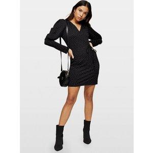 Miss Selfridge Womens Petite Black Spot Ballon Sleeve Wrap Dress, Black Ms34e99wblk Womens Dresses & Skirts, BLACK