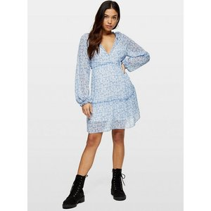 Miss Selfridge Womens Petite Blue Chiffon Tierred Smock Dress, Pale Blue Ms34e70wblu Womens Dresses & Skirts, PALE BLUE