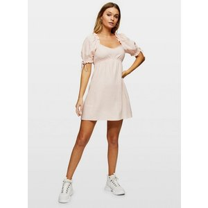 Miss Selfridge Womens Pink Milkmaid Skater Dress With Linen, Pale Pink Ms18s70apnk Womens Dresses & Skirts, PALE PINK