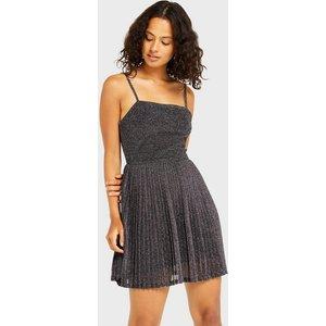 Miss Selfridge Womens Silver Glitter Pleated Mini Dress, Silver Ms18c21aslv Womens Dresses & Skirts, SILVER