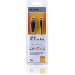 Belkin F3u155cp3m Usb Cable 3 M 2.0 Usb A Mini-usb B Black Cables, Parts & Power Supplies