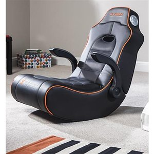 X Rocker G-force 2.1 Floor Rocker Console Gaming Chair Upholstered Padded Seat Black Orang 5134401 Chairs