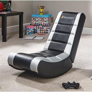 X Rocker Video Rocker Console Gaming Chair Upholstered Padded Seat Black Gray