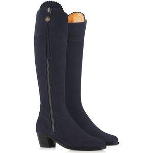 Fairfax & Favor Heeled Regina Boots Navy Suede Uk6 (eu39) Womens Footwear, Navy Suede