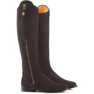 Fairfax & Favor Womens Flat Regina Boots Chocolate Suede 6 (eu39) Womens Footwear, Chocolate Suede