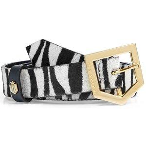 Fairfax & Favor Womens Sennowe Belt Zebra Hide Hair Calf Medium Womens Accessories, Zebra Hide Hair Calf