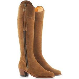 Fairfax & Favor Sporting Fit Regina Boots Heeled Tan Suede 4 (eu37) Womens Footwear, Heeled Tan Suede