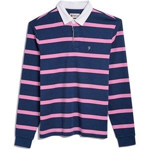 Farah Mens Luke Long Sleeve Polo Shirt Farah Teal Medium Mens Tops, Farah Teal
