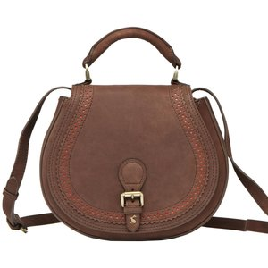Joules Womens Dawcett Spanish Leather Saddle Bag Chocolate Bags, Chocolate