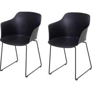 Homcom 2 Pcs Curved Plastic Dining Chairs W/ Metal Base Black