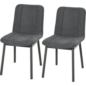 Homcom 2 Pieces Armless Mid Back Dining Chair Leisure Fabric Upholstered Padded Seat With