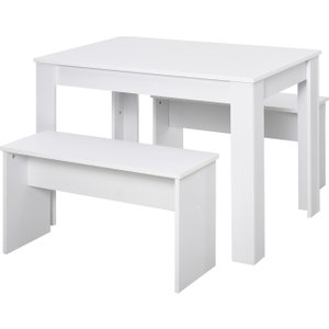 Homcom 3 Pieces Dining Table Set With 1 Kitchen Table And 2 Benches, Simple Modern Design