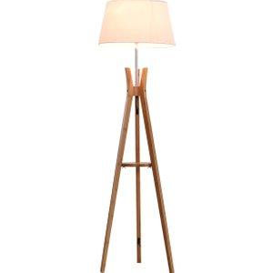 Homcom Bamboo Freestanding Tripod Floor Lamp W/ Shelf White