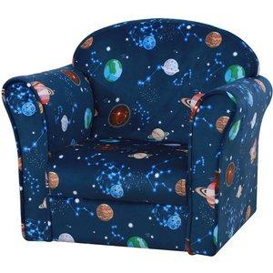 Homcom Children Kids Mini Sofa Armchair Made Of Polyester Very Comfortable Blue Universe P