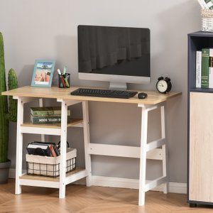 Homcom Compact Computer Desk With Shelf Writing Table Workstation For Home Office, Study,