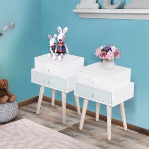 Homcom Kids Mdf Heart-shaped Handle Bedside Table Blue