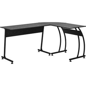 Homcom Particle Board L-shaped Home Office Desk Black