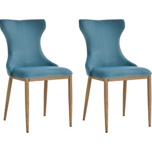 Homcom Polyester Upholstered Set-of-2 Dining Chairs Blue