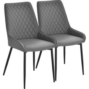 Homcom Pu Leather Set-of-2 Rhombus Tufted Dining Chairs Grey