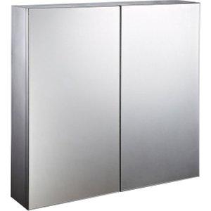 Homcom Stainless Steel Bathroom Mirror Cabinet, Double Doors,