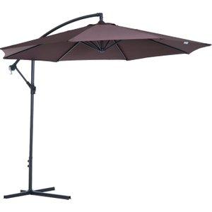 Outsunny 3 M Hanging Umbrella Parasol-coffee