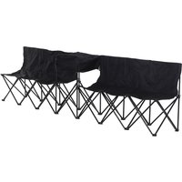 Outsunny 6-seater Folding Steel Camping Bench W/ Cooler Bag Black