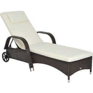 Outsunny Adjustable Rattan Sun Lounger Outdoor Recliner W/ Cushion Garden Pool