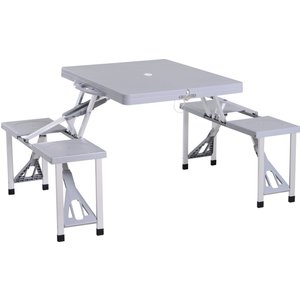 Outsunny Aluminium Pp 4-seater Portable Picnic Table And Bench Set Silver