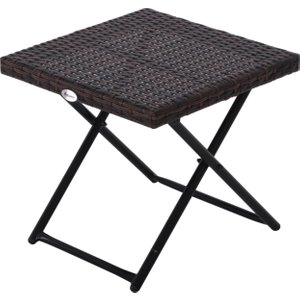 Outsunny Folding Square Rattan Coffee Table Bistro Balcony Garden Steel Outdoor