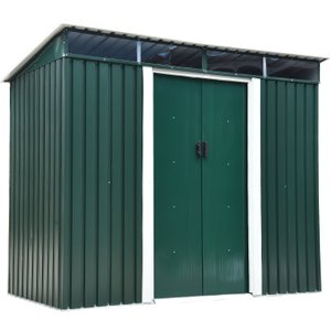 Outsunny Garden Shed, 238.4lx123.5wx180-194h Cm, Steel-green